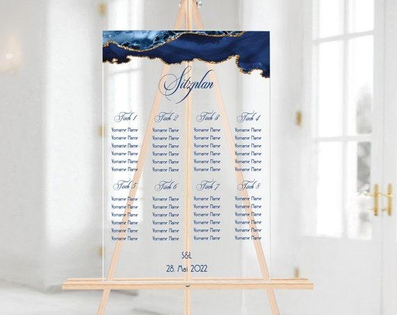 Sitzplan Hochzeitsschild Acrylglas personalisiert