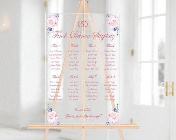 Sitzplan Rose Acrylglas personalisiert, Hochzeitsschild