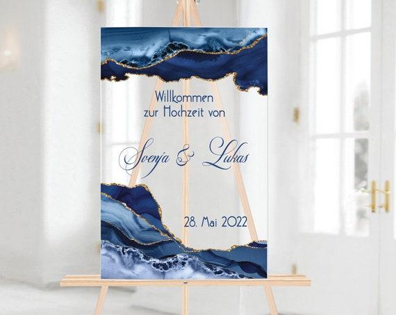 Acryl Hochzeitsschild, etwas blaues, Willkommensschild, Willkommen zur Hochzeit