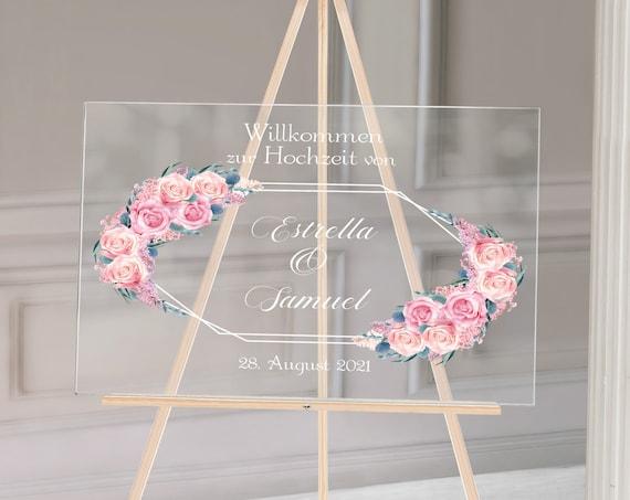 Acryl Hochzeitsschild, Rosen Hochzeit, Plexiglas Hochzeitsdeko, Willkommen zur Hochzeit, Willkommensschild personalisiert