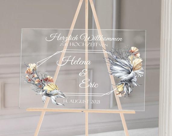 Acryl Hochzeitsschild, Plexiglas Hochzeitsdeko, Strandhochzeit, maritime Hochzeitsdeko, Fische Hochzeit, transparent