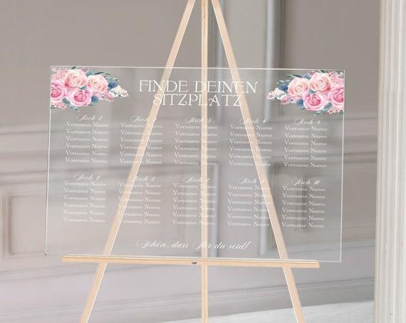 Sitzplan Hochzeitsschild Acrylglas, personalisiert