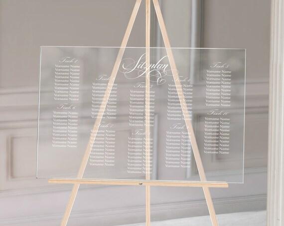 Sitzplan Hochzeit Acrylglas, Hochzeitsschild personalisiert