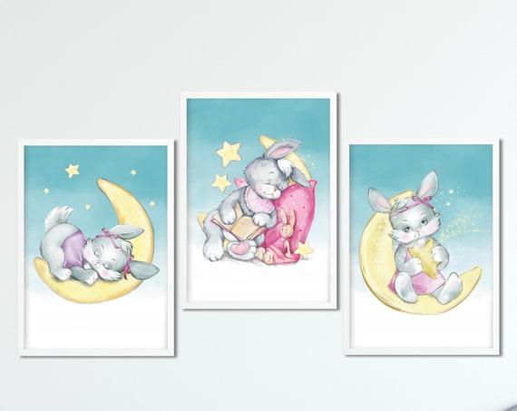 Hasen Poster Set, 3-er Set, Kinderzimmer, Babyzimmer