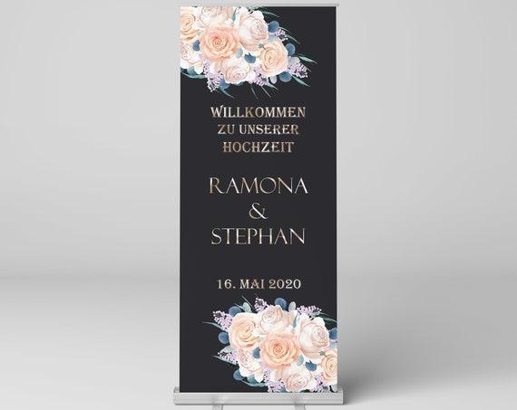 Roll-Up Hochzeitsschild, Banner, Display, Willkommen zur Hochzeit, Willkommensschild, Hochzeitsdeko, Hochzeitsbanner, Dekoration, Verlobung