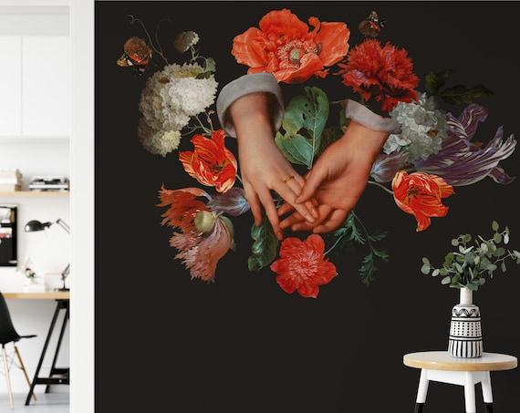 Schwarze Tapete, Blumentapete, Liebende Hände, Fototapete, Selbstklebend, Vliestapete
