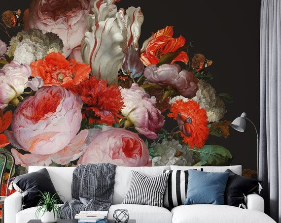 Große Blumen Tapete, Dunkle Blumentapete, Fototapete selbstklebend, Glattvliestapete, Wandbild