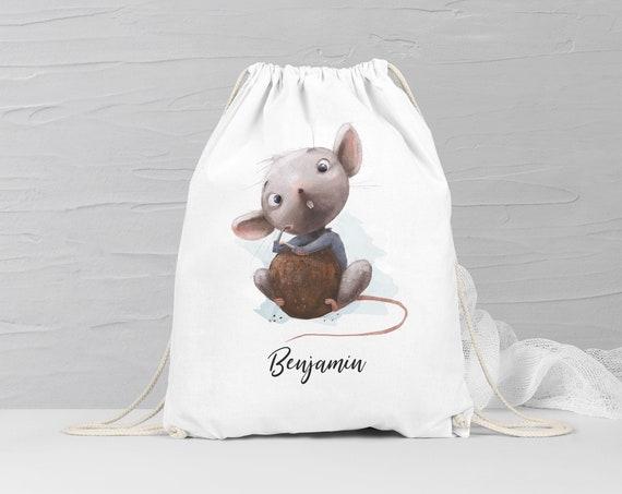 Turnbeutel, Sporttasche, Rucksack mit Namen, personalisiert, Maus Turnbeutel, Geschenk