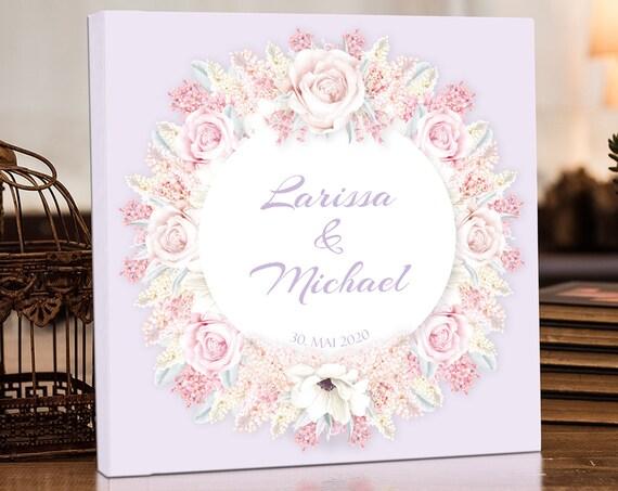 Gästebuch Hochzeit, Personalisiert, Hochzeitsgästebuch, Buch, Hochzeitsalbum, Fotobuch, Erinnerungsalbum, Flieder, Rosen