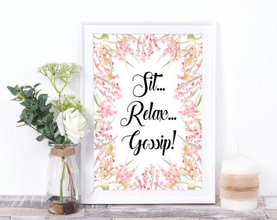 Sitzen, Entspannen, Tratschen Wandkunst, Druckbare Wandkunst, Digitale Worte, Digital Print, Wortkunst, Geschenk zum Einzug, Wohn Dekor