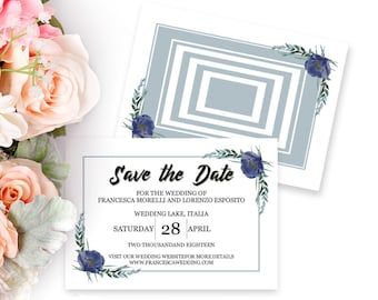save the date card printable save the date editable template etsy