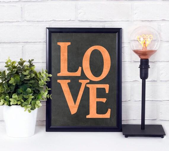 Liebe Kunstdruck, Tafel, Kupfer Worte, Typografie Wandkunst, Industrial Design Kunstdruck, druckbares Poster, Wohn Dekor, Geschenk