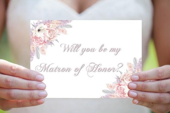 Matrone der Ehre Karte, Vorschlag Einladung, Hochzeitskarte, Einladungskarte, Druckbare Einladung, DIY Hochzeit, Sofort Download