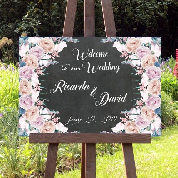 Hochzeit Willkommen Tafel Schild, Hochzeitsdeko, Partydeko, Hochzeitsschild, Digitaldruck, Personalisiert, DIY Hochzeit, Poster, Leinwand