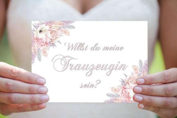 Willst du Trauzeugin sein, Trauzeugin Vorschlag Karte, Hochzeitskarte, Hochzeitseinladung, DIY Hochzeit, Druckbare Einladung, PDF Download