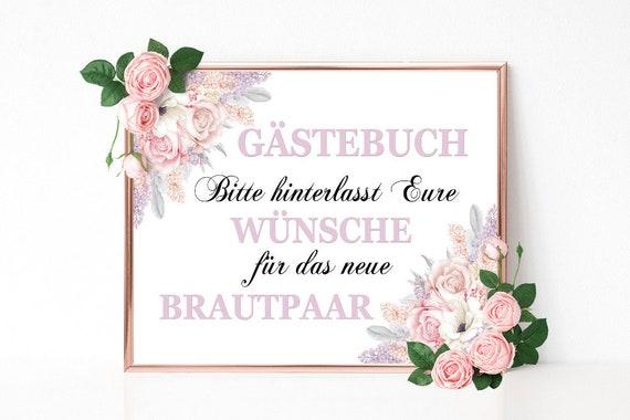 Gästebuch Schild, Hochzeitsschild drucken, Gästebuch Dekoschild, Hochzeitsdeko, Party Schild, Florale Hochzeit Deko, DIY Hochzeit, Download