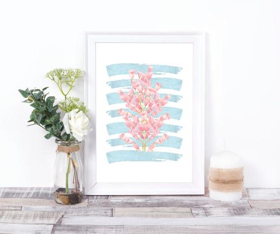 Pinselstriche und Blumen Wandkunst, Blau und Rosa, digitaler Kunstdruck, Digitaldruck, Wasserfarben Blumen, druckbares Poster, moderne Kunst
