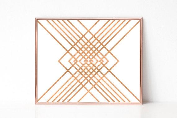 Kupfer-Glitter, druckbare Wandkunst, Moderner Kunstdruck, Digitaldruck, Geometrisch, Wanddekoration, Geschenk zur Einweihung, Download