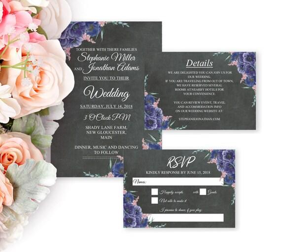 Hochzeitseinladung Set, Boho Hochzeit, Einladung Set, Druckbare Einladung, Editierbare Vorlage, PDF, Sofort Download, Details, RSVP