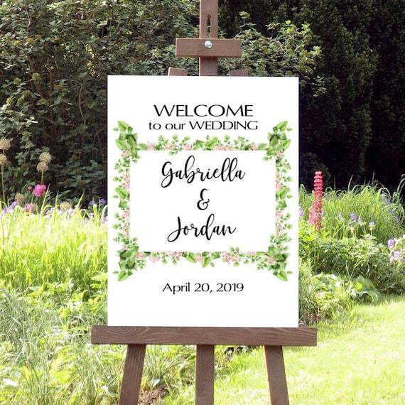 Willkommen Hochzeit Schild, Grünes Laub Hochzeitsschild, Druckbares Willkommensschild, Hochzeitsdeko, Empfang Tafel