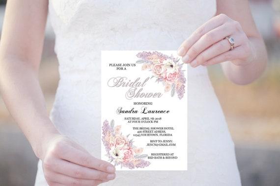 Bridal Shower Template, Brautdusche Einladung, Hochzeit, Flieder und Rosen, Sofort Download, Brautdusche Vorlage, Editierbare Einladung
