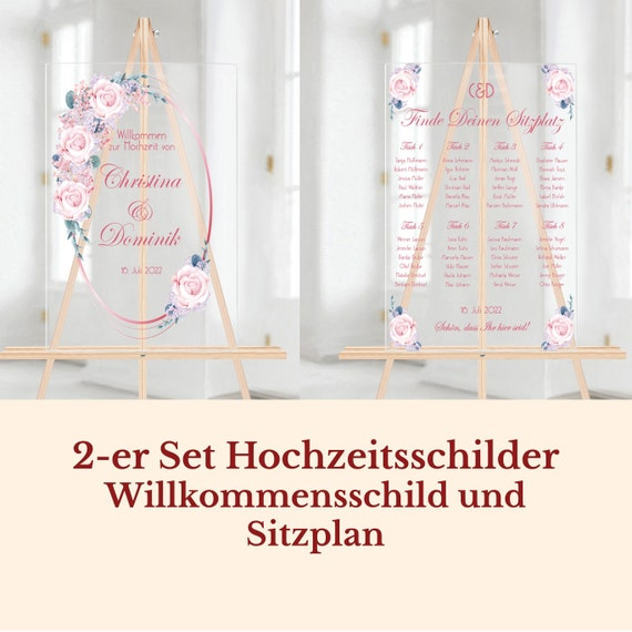 Hochzeitsschilder Set Acrylglas, Willkommensschild und Sitzplan personalisiert