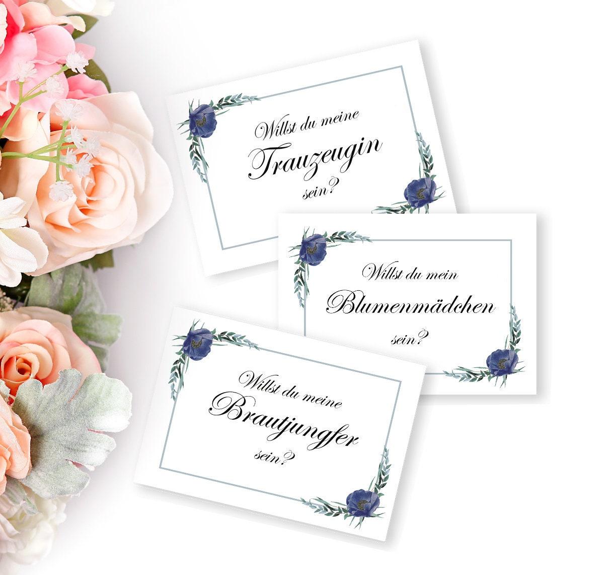 Hochzeitskarten Set, Vorschlag Trauzeugin, Brautjungfer, Blumenmädchen,  Digital Download, Einladung Hochzeit, Druckbare Einladung, DIY