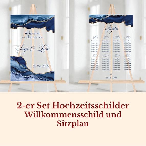 Hochzeitsschilder Acrylglas personalisiert, Schilder Set, Willkommensschild und Sitzplan
