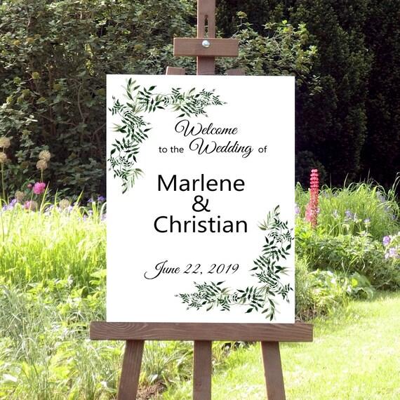 Willkommen Hochzeit Schild, Grünes Laub, Hochzeitsschild, Willkommensschild, Florale Hochzeit, Botanische Hochzeit, DIY Hochzeit, Poster