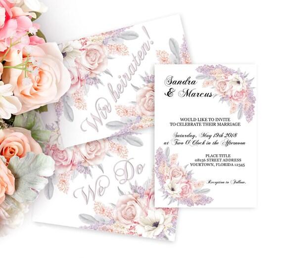 Hochzeitseinladung Vorlage, Druckbare Einladung, Hochzeit Template, editierbare Vorlage, Flieder Hochzeit, Rosen, Blüten Einladung Hochzeit