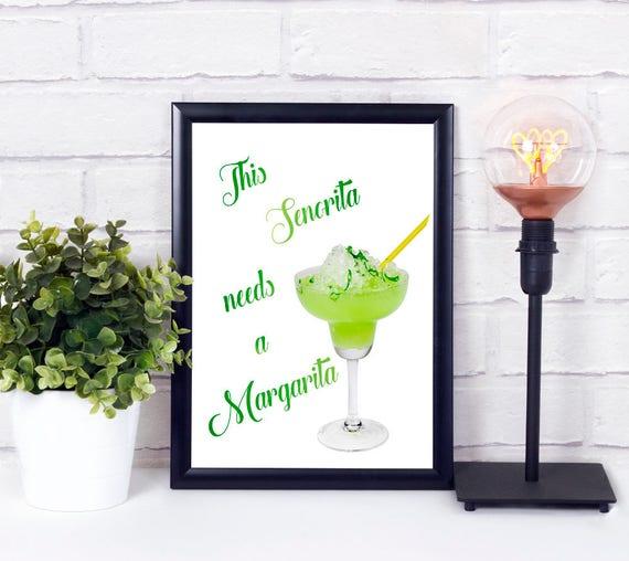 Diese Senorita braucht einen Margarita, Cocktail Bar, Poster, Digitaldruck, Print, druckbares Bar Schild, Geschenk zur Einweihung, Wandkunst