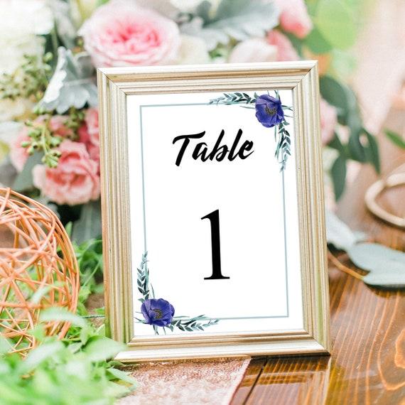 Hochzeit Tischnummer Karten, Druckbare Tischnummern, Editierbare PDF Vorlage, Hochzeitsdeko, Tischdeko, Sofort Download, 4x6, 5x7