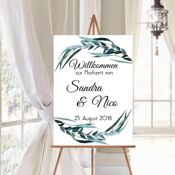 Willkommen zur Hochzeit Schild, Hochzeitsschild, personalisiert
