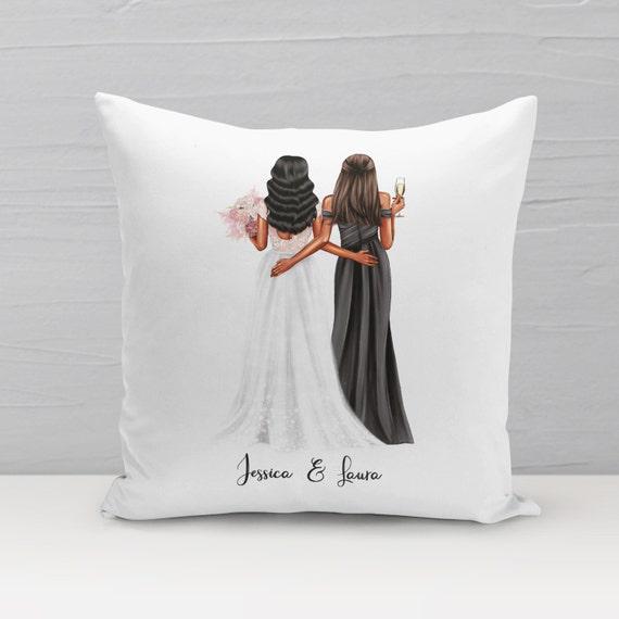 Trauzeugin Kissen, Personalisiert, Braut und Trauzeugin Geschenk
