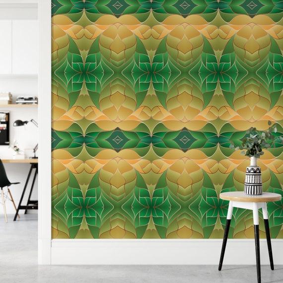 Abstrakte Tapete, Moderne Vliestapete, Glattvlies, 70er Jahre, Grün-Gelb