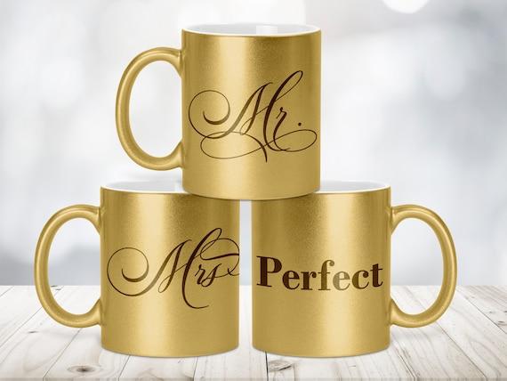 Mr und Mrs Glitzertasse Gold-Metallic, Tasse einzeln und Set, Schriftfarbe rot und schwarz