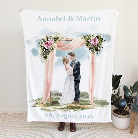 Hochzeit Fleecedecke personalisiert, Brautpaar Sofadecke, Überwurf