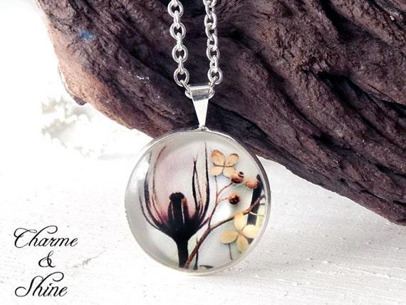 Tulpe Cabochon Kette, Blüten Anhänger, Foto Schmuck, Glas Anhänger, Glaskuppel Kette, Geschenk für Schwester, Mutter, beste Freundin