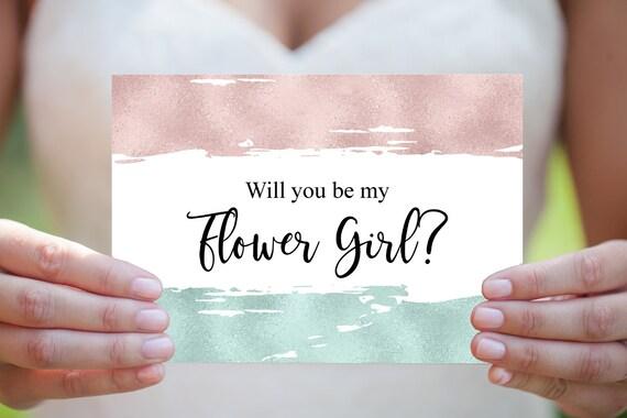 Blumenmädchen Hochzeitskarte, Hochzeitseinladung, Moderne Hochzeit, Blumenmädchen Vorschlag, druckbare Einladung