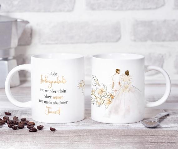 Brautpaar Tasse, Braut und Bräutigam, Brautpaar Geschenk, Hochzeitsgeschenk, Kaffeebecher, Teetasse, Hochzeit, Geschenkidee