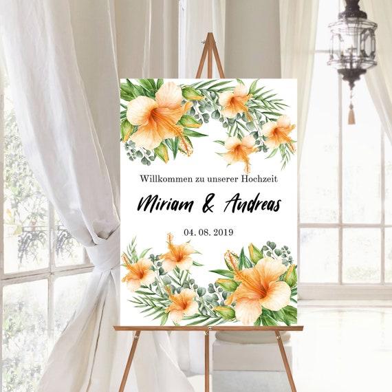 Willkommensschild Hochzeit personalisiert, Hochzeitsschild Tropische Blüten
