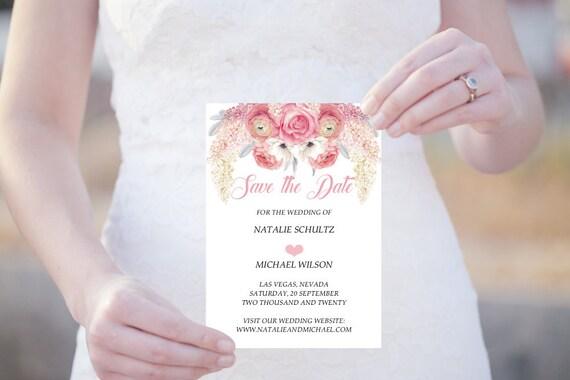 Save the Date Karte, Editierbare Vorlage, Flieder und Rosen, Blumen Hochzeit, druckbare PDF, Hochzeitskarte, Einladungskarte