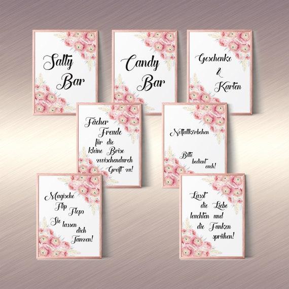 Download Schilder Set Hochzeit, Deko Hochzeitsschild, Salty Bar, Geschenke, Funken, Candy Bar, Flip Flops, Notfallkörbchen, Fächer