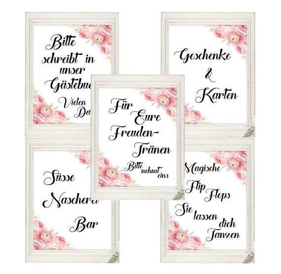Schilder Set Hochzeit Deutsch, Hochzeitsschilder, Gästebuch, Flip Flops, Freudentränen, Geschenke-Karten, Süßigkeiten Bar, Digitaldruck