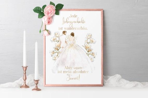 Liebe Poster, Brautpaar, Liebesgeschichte, Wanddeko, Bild, A3, A4