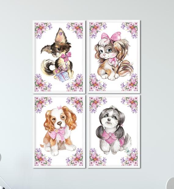 Hunde Poster Set, Kinderzimmer Poster, 4-er Set Bilder, Babyzimmer