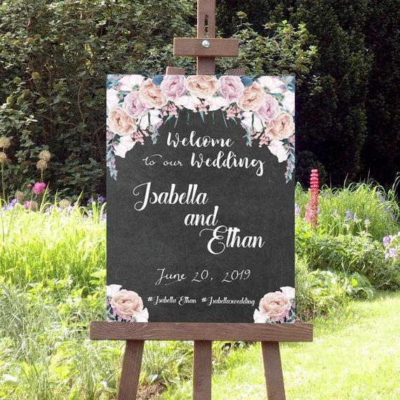 Hochzeitsschild Tafel, Blumen Schild, Hochzeit Willkommensschild, Hochzeitsdeko, Poster, Leinwand, Vintage Hochzeit, Verlobung, Geburtstag