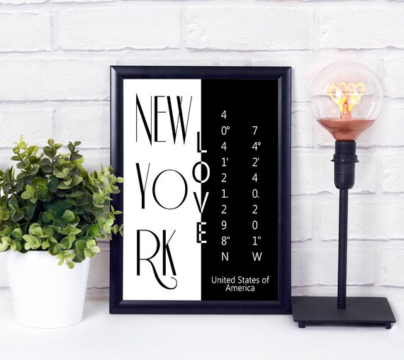New York Koordinaten Poster, Stadtliebe Print, moderne Wandkunst, druckbares Poster, Digitaldruck, Geschenk zur Einweihung, Sofort Download