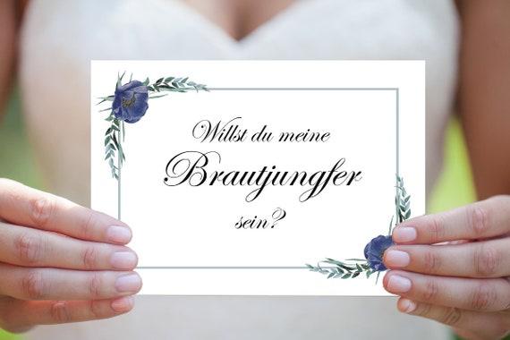 Brautjungfer Karte, Willst du meine Brautjungfer sein, Druckbare Karte, Einladung Hochzeit, Sofort Download, Brautjungfer Einladung, A5 / A6