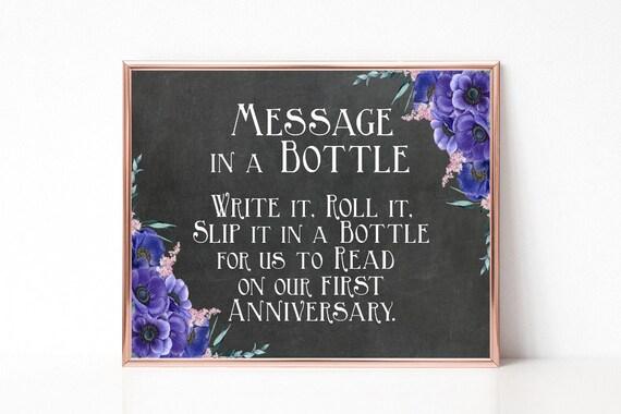 Flaschenpost Schild, Nachricht in der Flasche, Boho Hochzeit, Hochzeitsschild, Gästebuch alternativ, Hochzeitsdeko, Digital, Sofort-Download